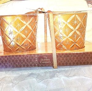 2 /$20 NWT Gold Bombay Glass Tealight Holders